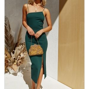 Emerald Green Asymmetrical Midi Slit Dress